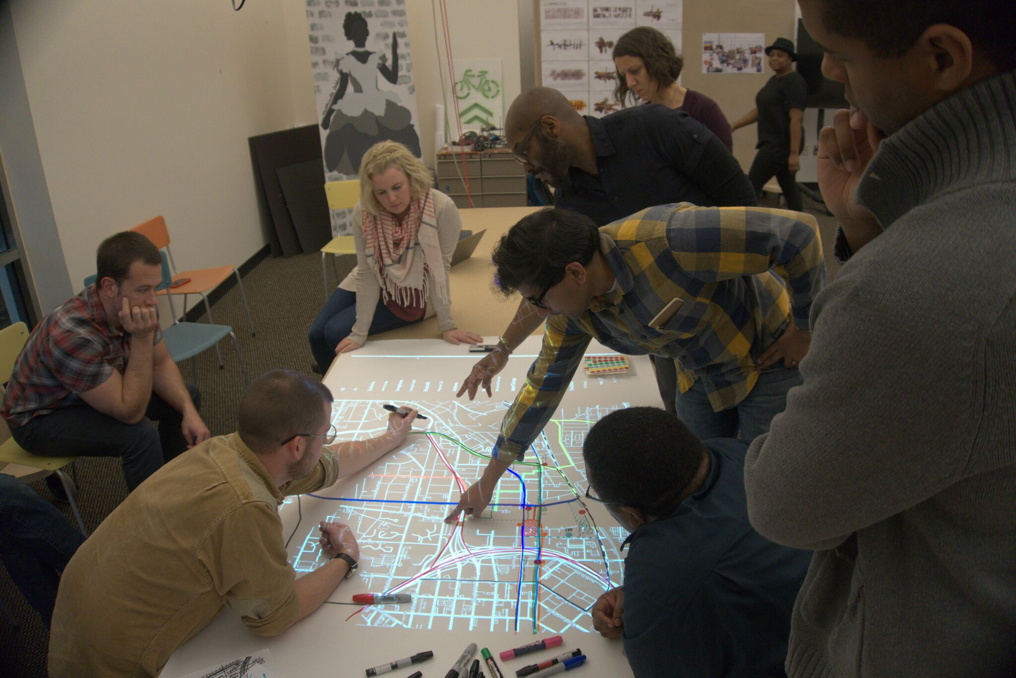 Students Drawing The Map